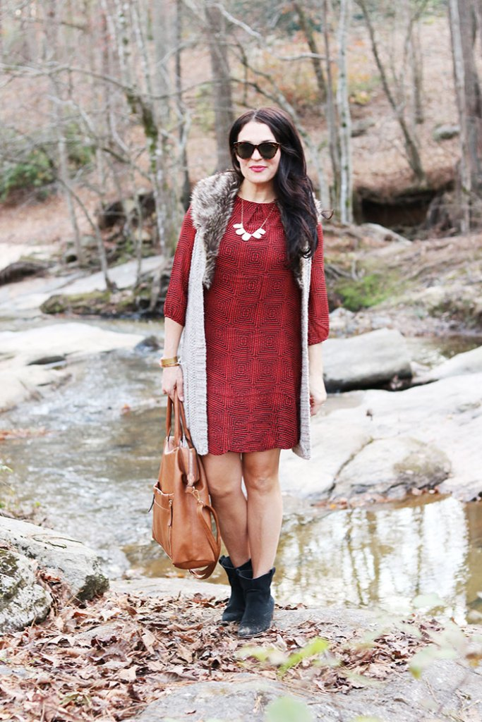shift dress fall outfit with fur fall outfit black booties