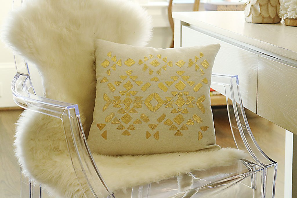 gold-foil-pillow-on-clear-chair-tutorial