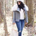 Plaid Fur Trim Coat and Eyelet Top