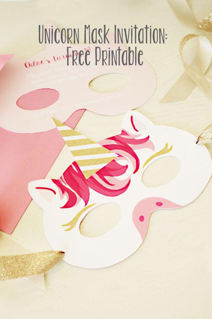 Unicorn Mask Invitation: Free Printable - Darling Darleen | A ...