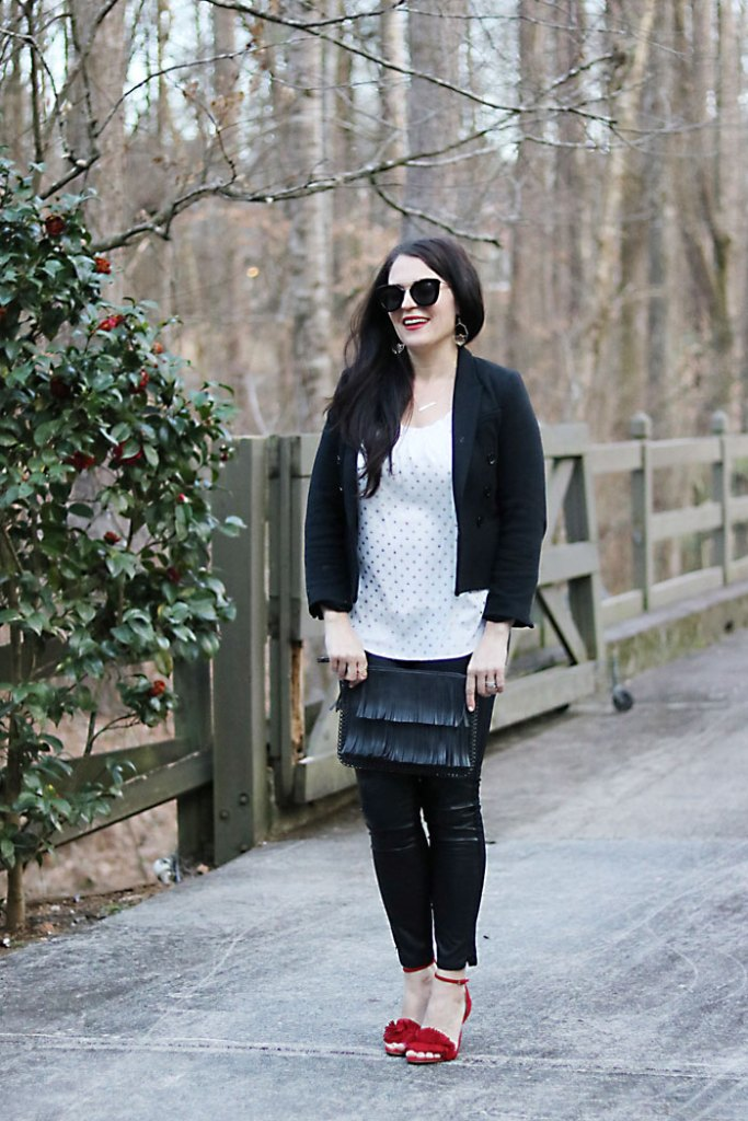 casual-sexy-valentine-outfit-smiling black fringe purse, red fringe heels