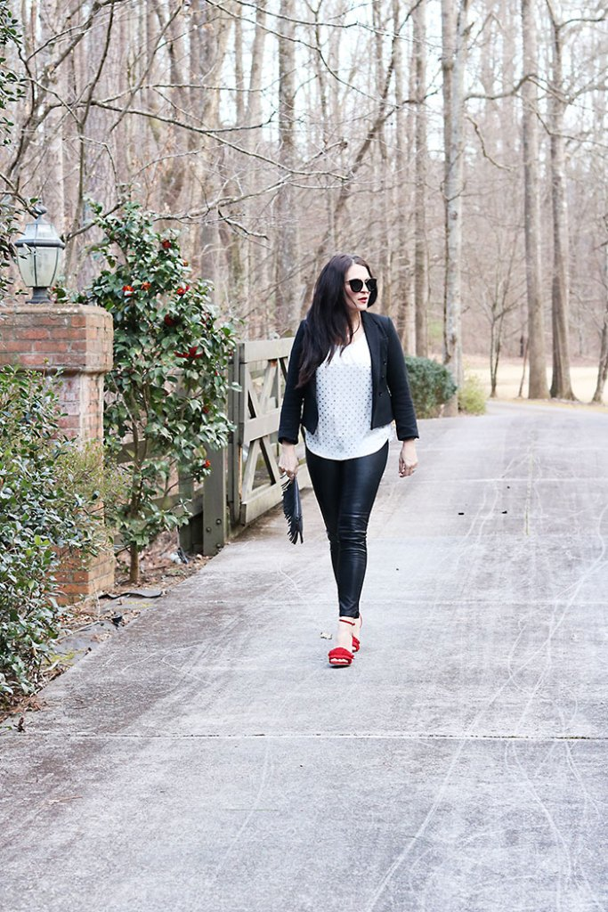 casual-sexy-valentines-outfit-with-sunglasses leather pants red fringe heels