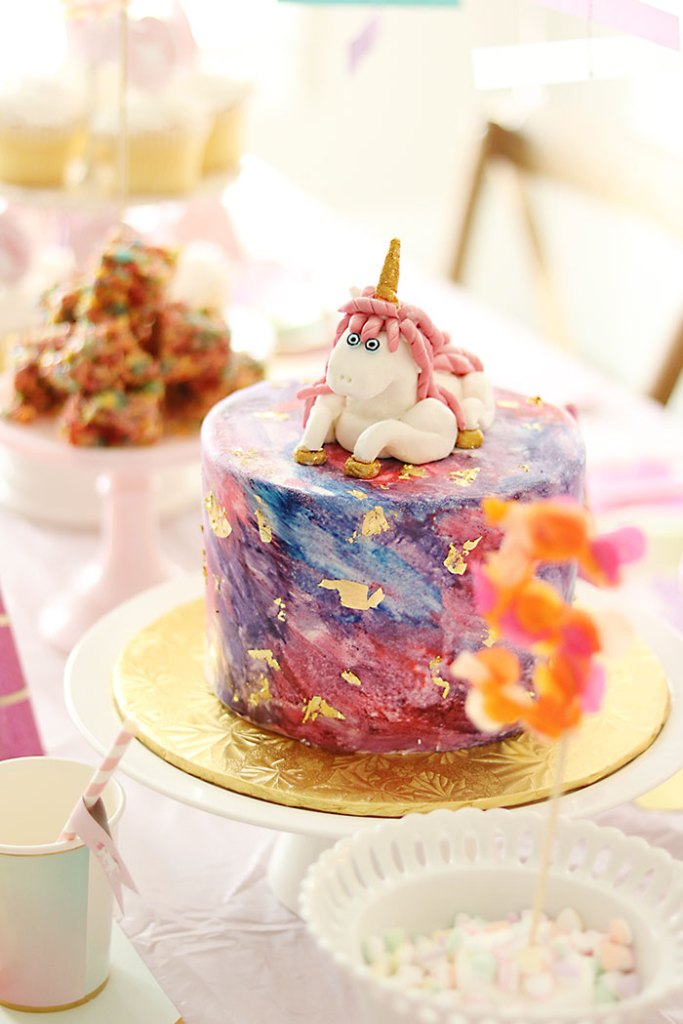 unicorn-birthday-party-watercolor-cake