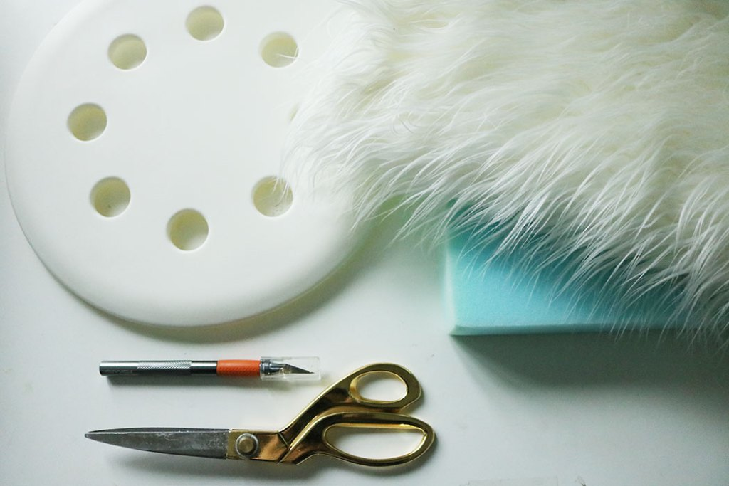 white-fur-stool-diy-supplies