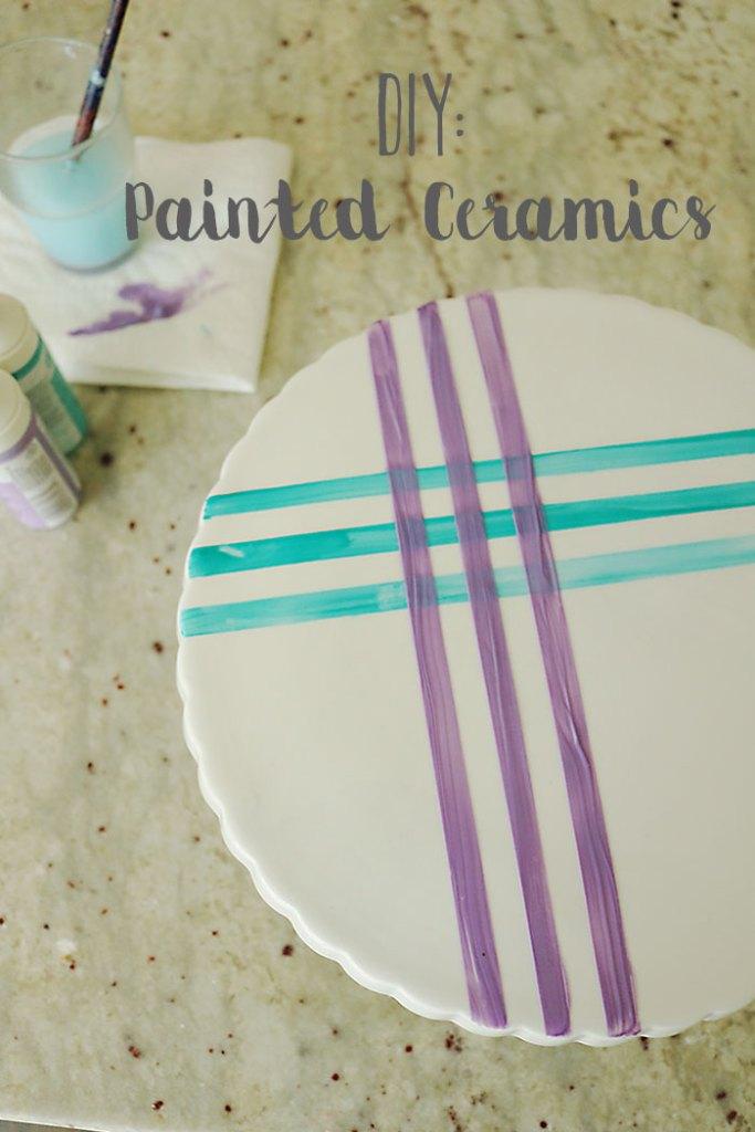 DIY-painted-ceramics, painted platters, glass paints, art on plates, watercolor, DIY, martha stewart paints