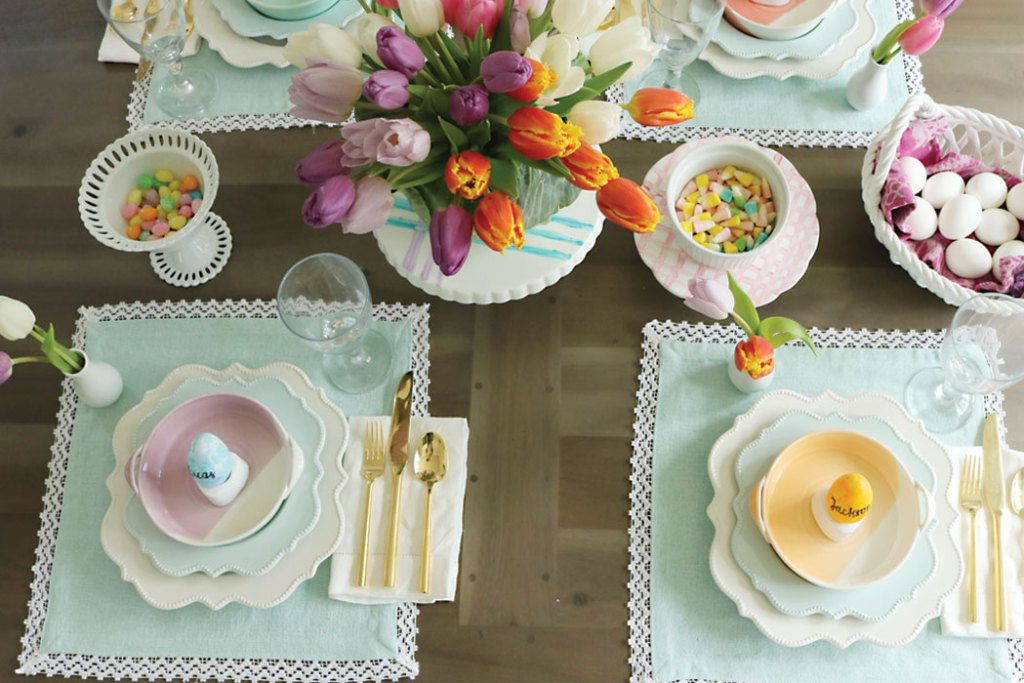 Easter-table-decorations, spring easter table decorations, easter tablescapes, easter table settings, DIY easter, simple easter table, easter centerpieces, ideas, christian, spring, cheap, cute fun easter place settings