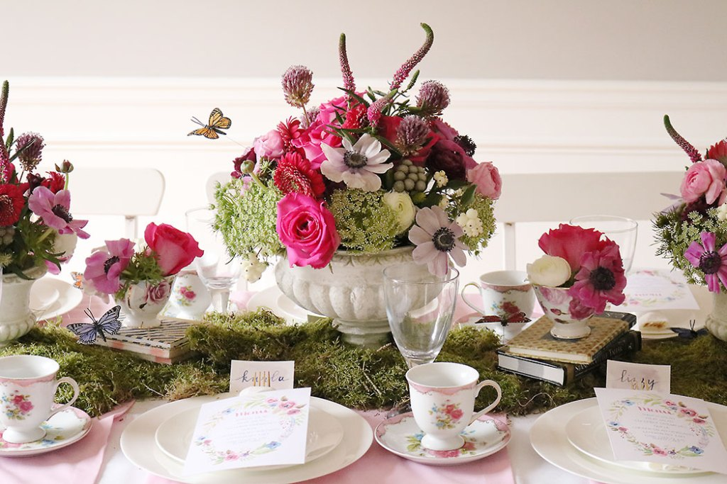 garden-tea-party-inside, garden tea party, outside garden party, table decorations, flowers, flower arrangements, butterfly, whimiscal, Alice in Wonderland, english tea party, centerpieces, secret garden