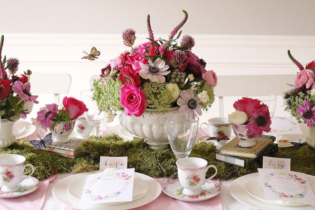 garden-tea-party-inside, garden tea party, outside garden party, table decorations, flowers, flower arrangements, butterfly, whimiscal, Alice in Wonderland, english tea party, centerpieces, secret garden