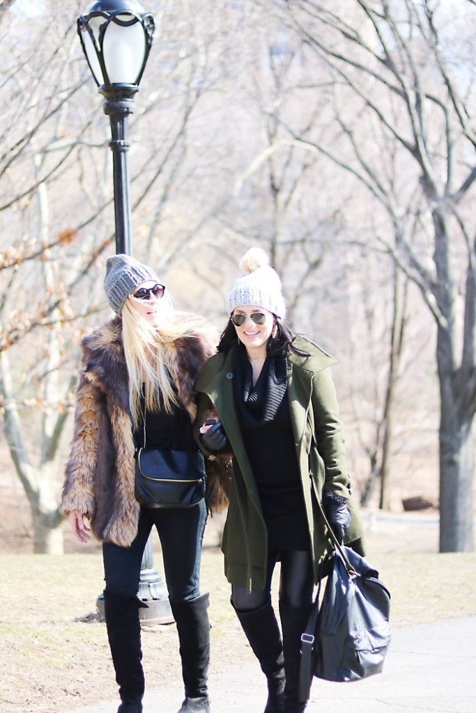new-york-fashion-central-park, central park, street style, winter styling, faux fur coat, winter hats, back pack