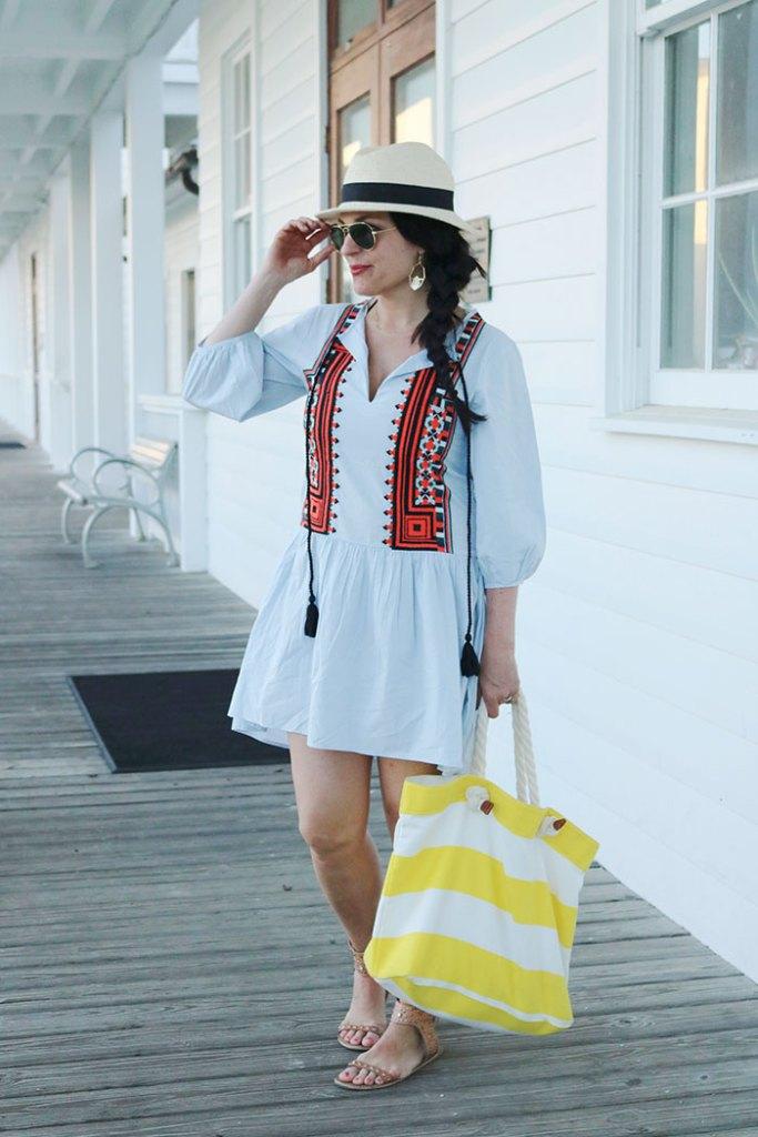 beaching-in-seaside, embroidery tassel dress, h&m dress, hm dress, embroidery dress, boho dress
