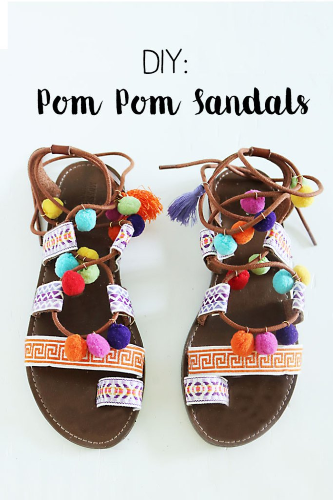 DIY-pom-pom-sandals-words, pom pom gladiator sandals, pom pom sandals, how to make pom pom sandals, summer trend pom pom sandals, Elina Linardaki Penny Lane Lace Up Sandals DIY