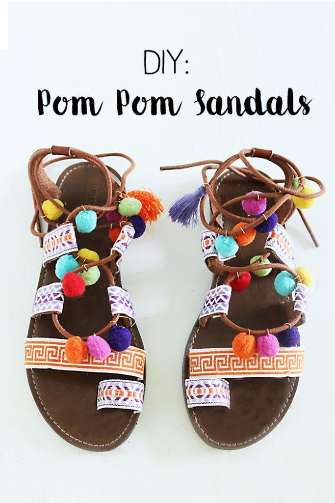 DIY-pom-pom-sandals-words, pom pom gladiator sandals, pom pom sandals, how to make pom pom sandals, summer trend pom pom sandals, Elina Linardaki Penny Lane Lace Up Sandals DIY