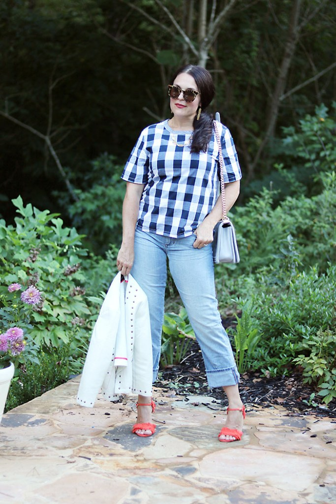 plaid-shirt-with-boyfriend-jeans-and-orange-heels