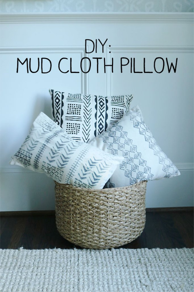 diy-mud-cloth-pillow-with-words, mud cloth pillow tutorial with freezer paper, mudcloth pill, mudcloth with paint, sharpie, DIY