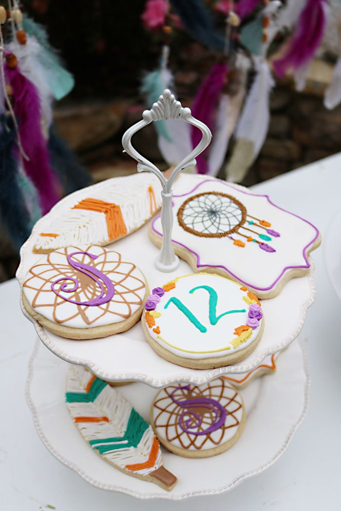Sugar Cookied Displayed On A Cake Stand