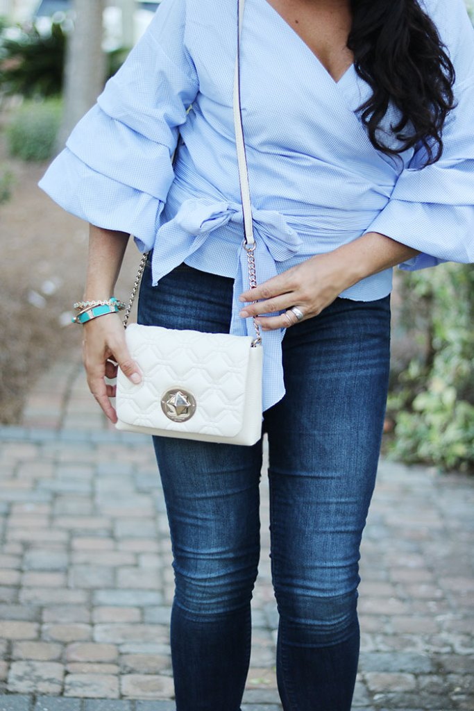 ruffled-shirt-with-quilted-kate-spade-bag, ruffled-sleeve-wrap-shirt-and-jeans, laced heels, shop bop, classy blue on blue outfit styling fall fashion trend 2016, beach style