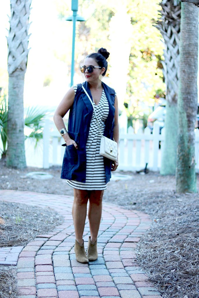 transitional-fall-clothes-anthropologie, transitional-pieces-for-fall, transitioning summer to fall outfit, transitional wardrobe, fall wardrobe, black and white striped dress, summer dress, cardigan, dress with booties, kate spade quilted bag