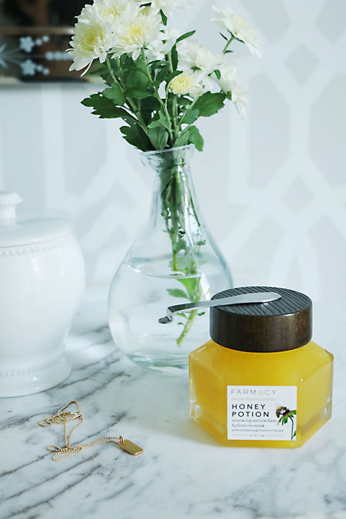 beauty-products-face-mask-honey-potion, farmacy honey potion, beauty-products-for-the-cold-weather, skincare beauty products for cold weather, anti aging skin cream, repair cream, face mask, honey face mask, african black soap, thick hand cream, skin repair, lash enhancer