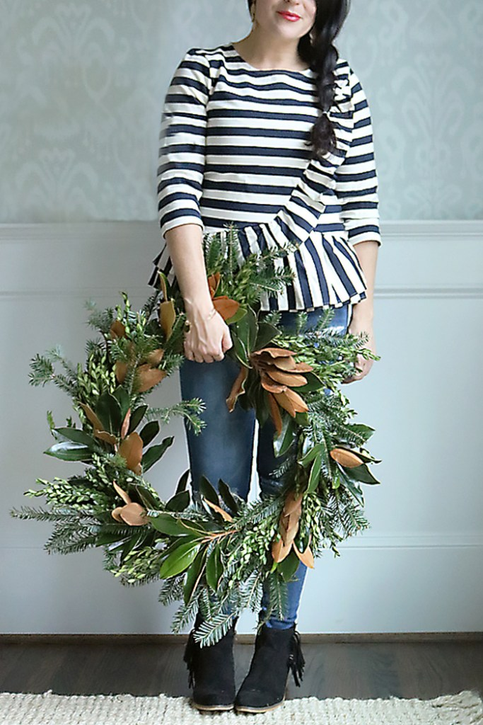 magnolia-wreath-diy, magnolia wreath diy, magnolia christmas decoration, southern christmas, christmas wreath diy, how to make a magnolia wreath tutorial, mixed branch christmas wreath, cedar wreath