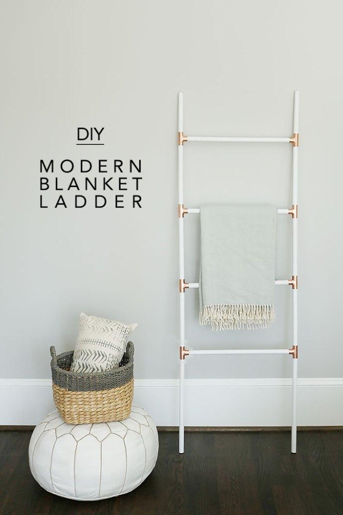 diy modern blanket ladder with copper and white, ladder blanket, diy ladder, how to make a ladder, easy ladder project, modern ladder