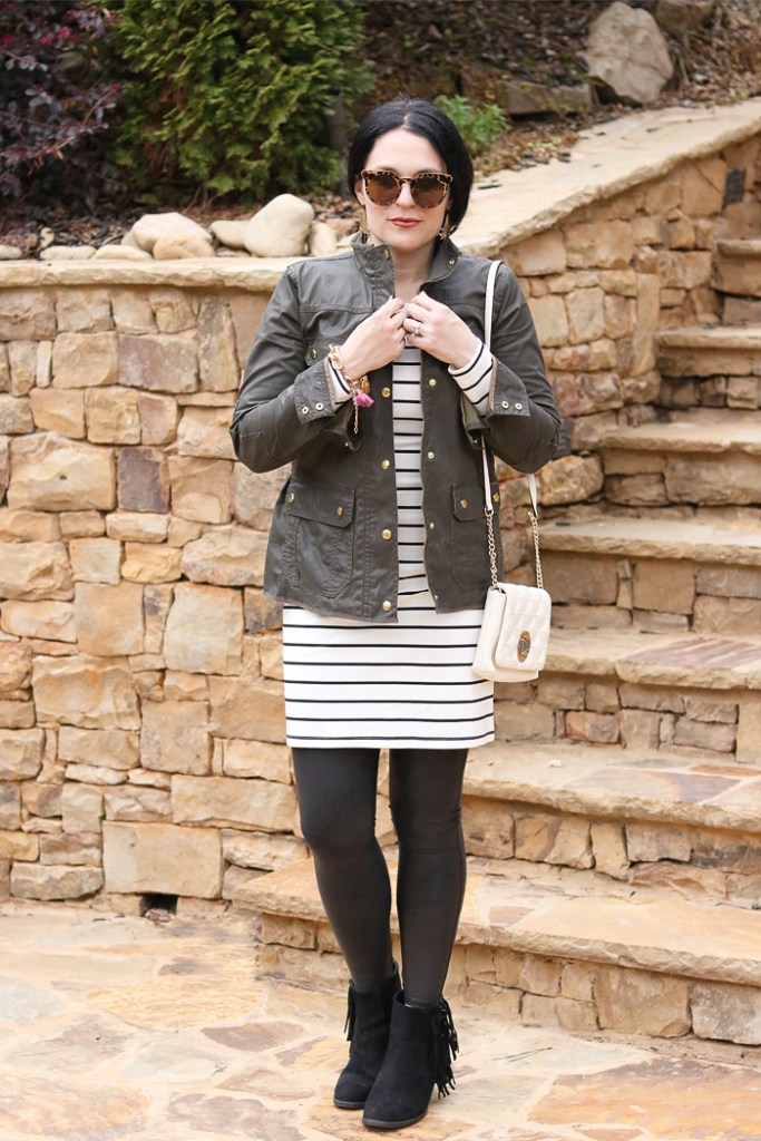 3 ways to wear a tunic dress, wide brim hat, one outfit multiple ways, h&m dress, fringe boot, striped tunic dress, tunic and leggings, amazon fashion, utah winter outfit, military jcrew jacket