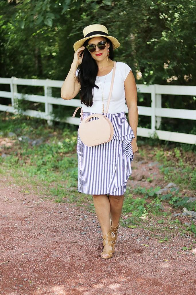 seersucker stripe skirt, ruffle stripe skirt, pinstripe skirt, banana republic skirt, ruffle banana republic skirt, pink round circle bag, handbag, amazon fashion, bahama hat, darleen meier jewelry, pink canteen bag