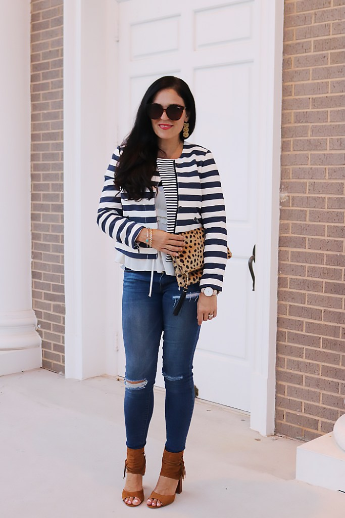 stripes in fall, it's banana, banana republic, moto cropped jacket, fall styling, fall fashion, jacket and jeans, casual date night outfit, darleen Meier jewelry,