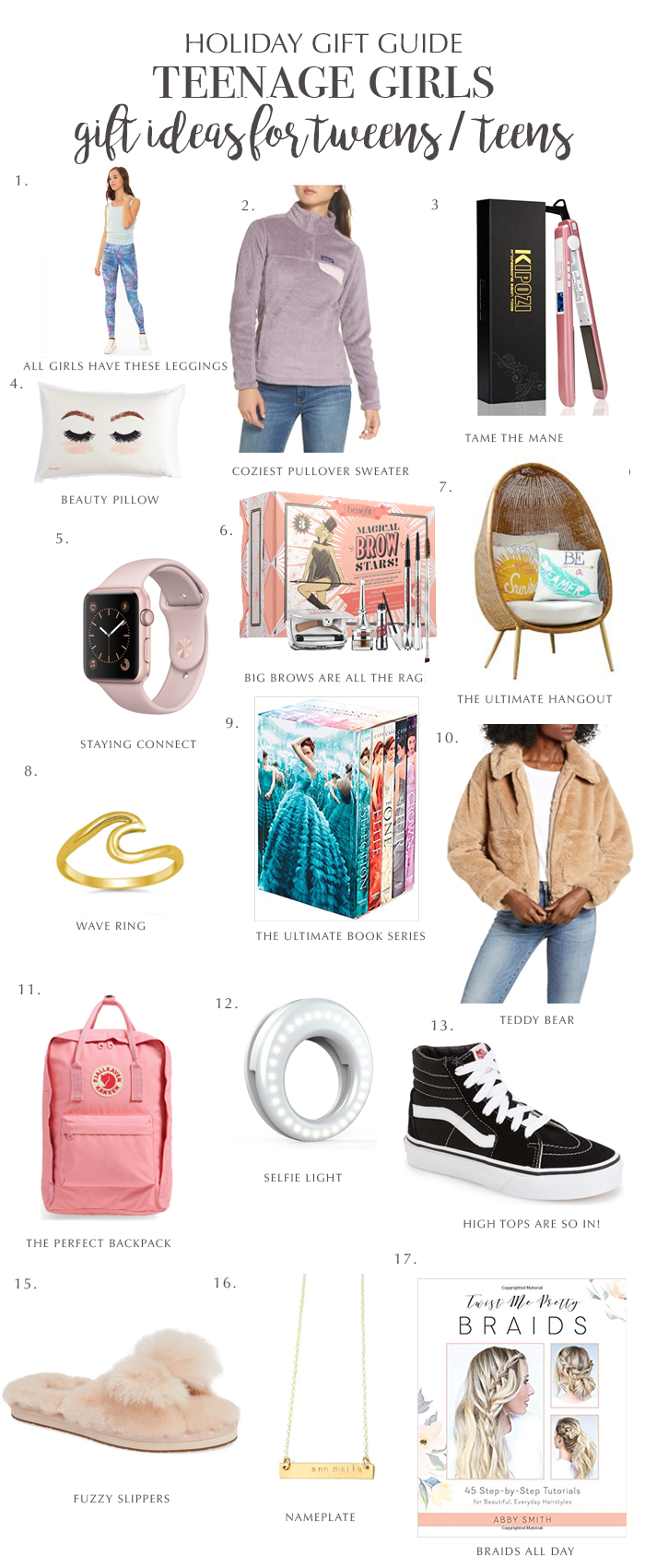 Look no further! The ultimate holiday gift guide for teen girls for cover all over your holiday shopping needs || Darling Darleen #holidaygiftguide #giftsforteengirls #darlingdarleen
