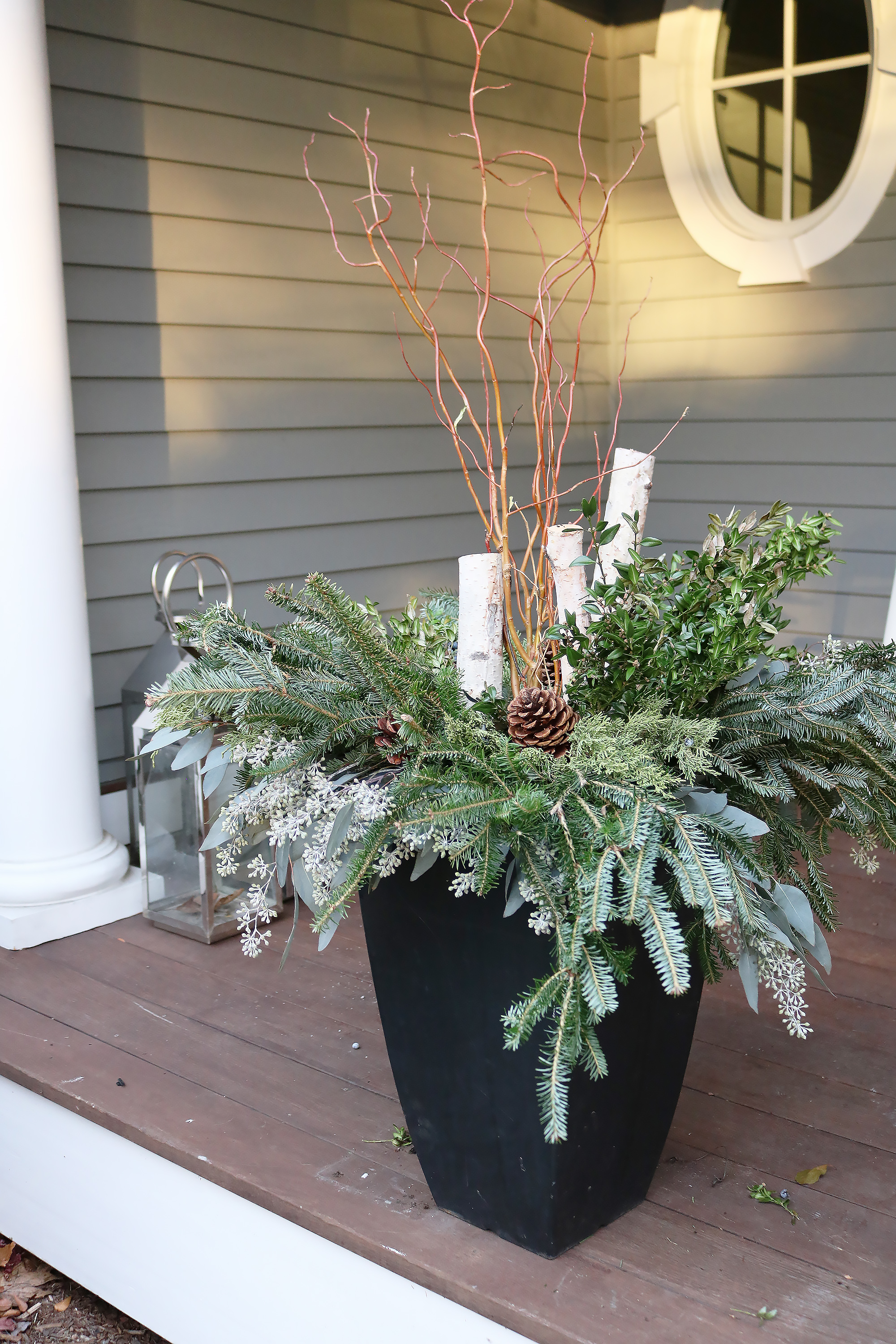 Outdoor Birch Winter Planters