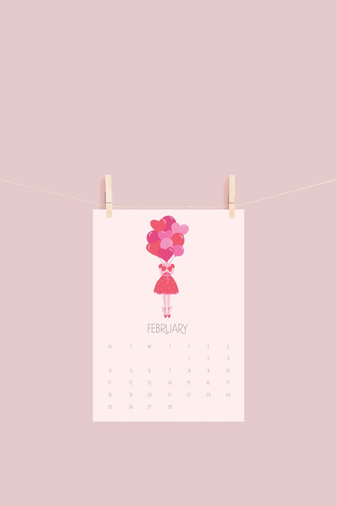 February Calendar free printable, fashion girl icon, free digital calendar, valentines theme calendar, february calendar, free printable, fashion sketch girl, heart balloons artwork, print valentines, calendar || Darling Darleen #freeprintable #freecalendar #digitalcalendar