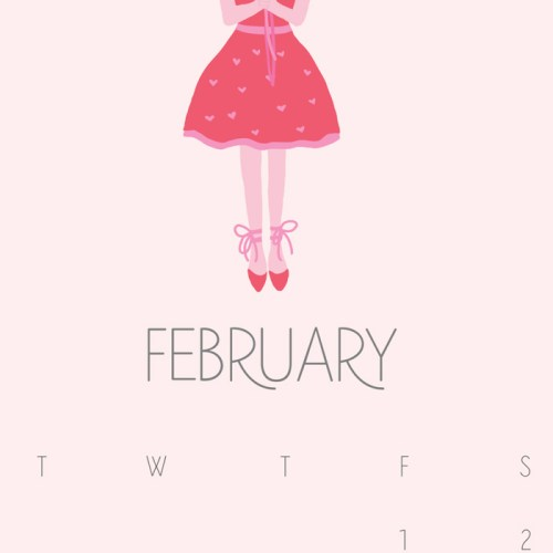 February Calendar–FREE Printable