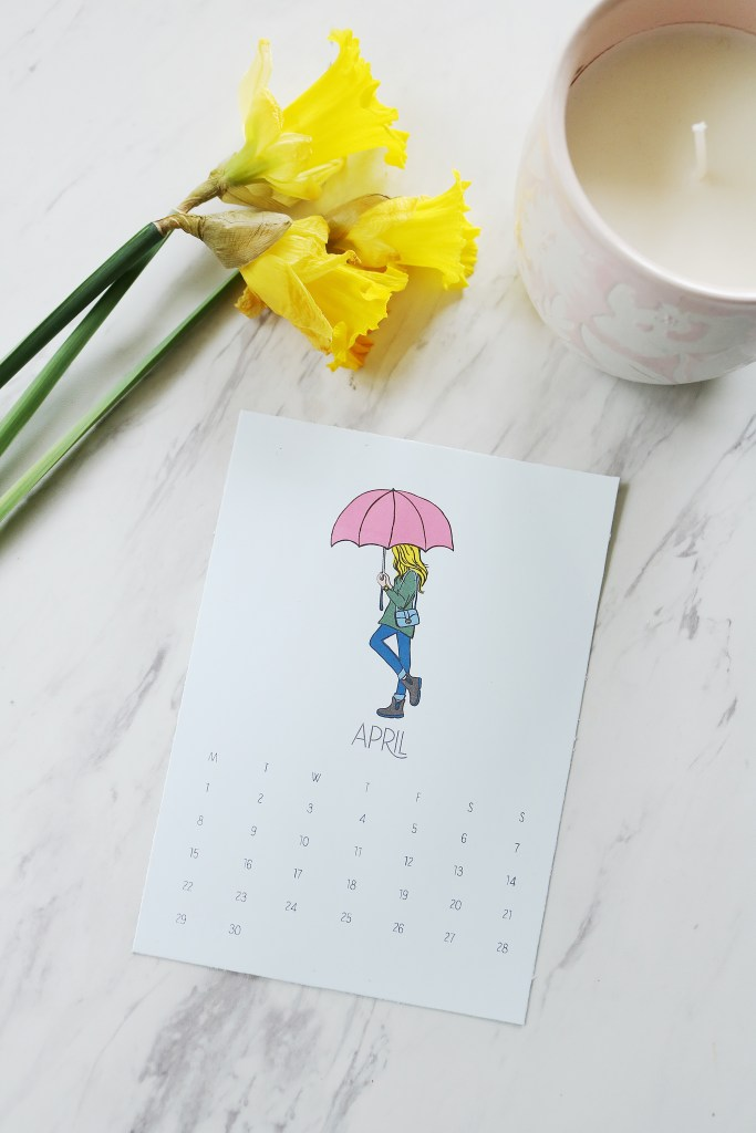 Free Calendar Download for our April 2019 fashion girl printable. April Showers Fashion girl calendar free printable || Darling Darleen #freeprintable