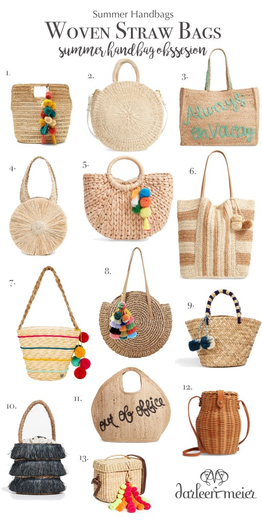 Summer Trend obsession of woven straw bags with so many different shapes, sizes and price point.  These are a few of my favorite woven straw bags! || Darling Darleen #darlingdarleen #wovenstrawbags