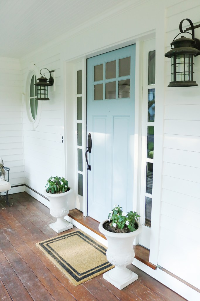Welcome to my Home | Exterior Paint, Blue Front door with porch || Darling Darleen