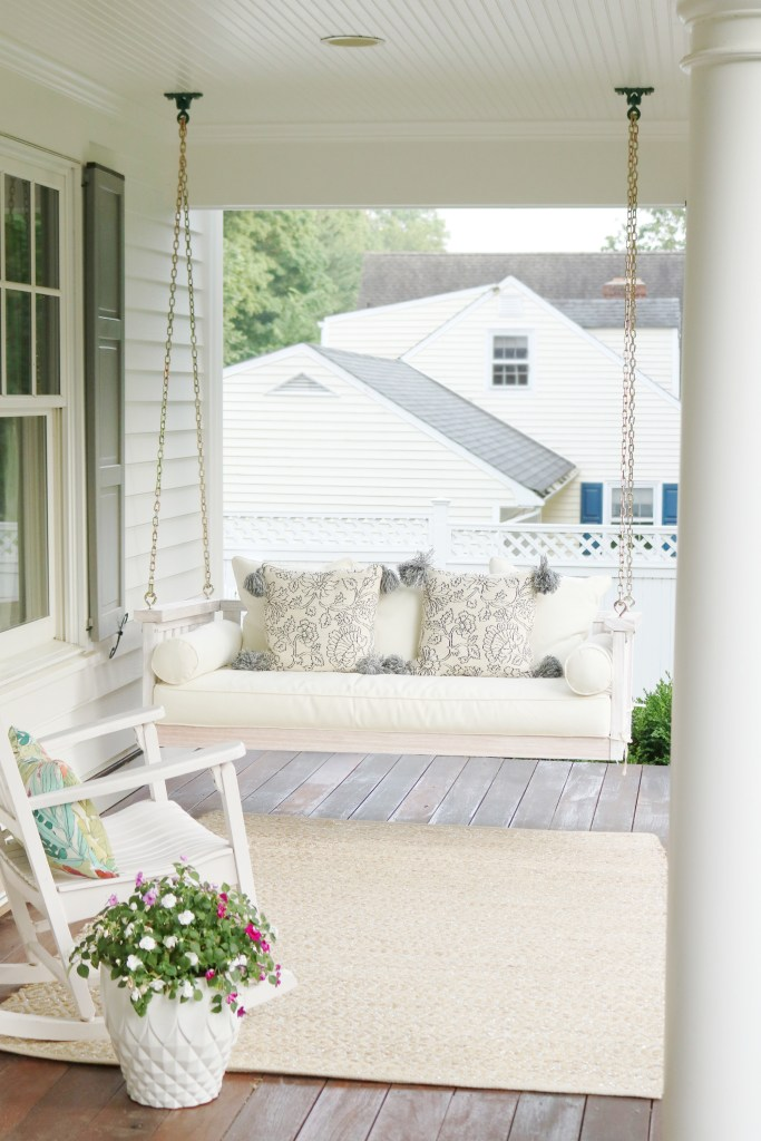 Exterior Home Reveal with Porch swing on Front Porch || Darling Darleen