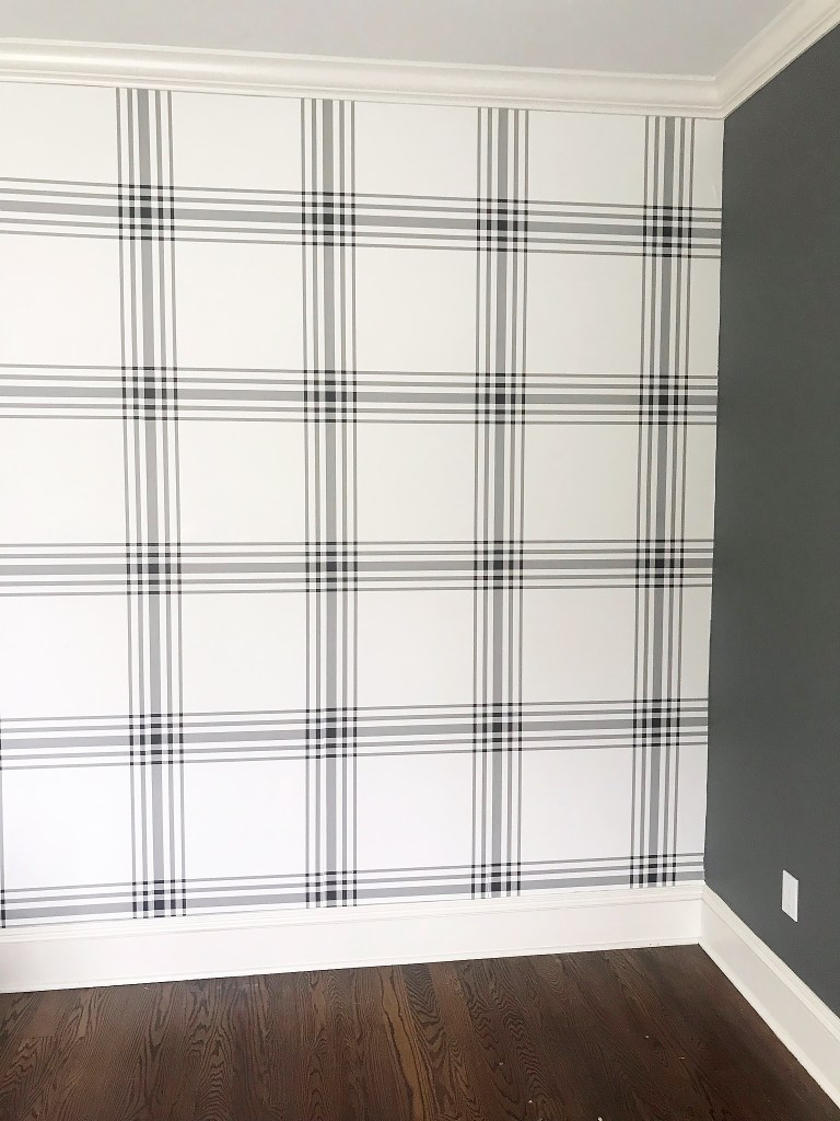 Hanging wallpaper is easy!  Anyone can do it!  Check out my Beginner Guide How to Hang Wallpaper DIY tutorial to give you the how to easy step-by-step process of hanging wallpaper. buffalo plaid wallpaper || Darling Darleen