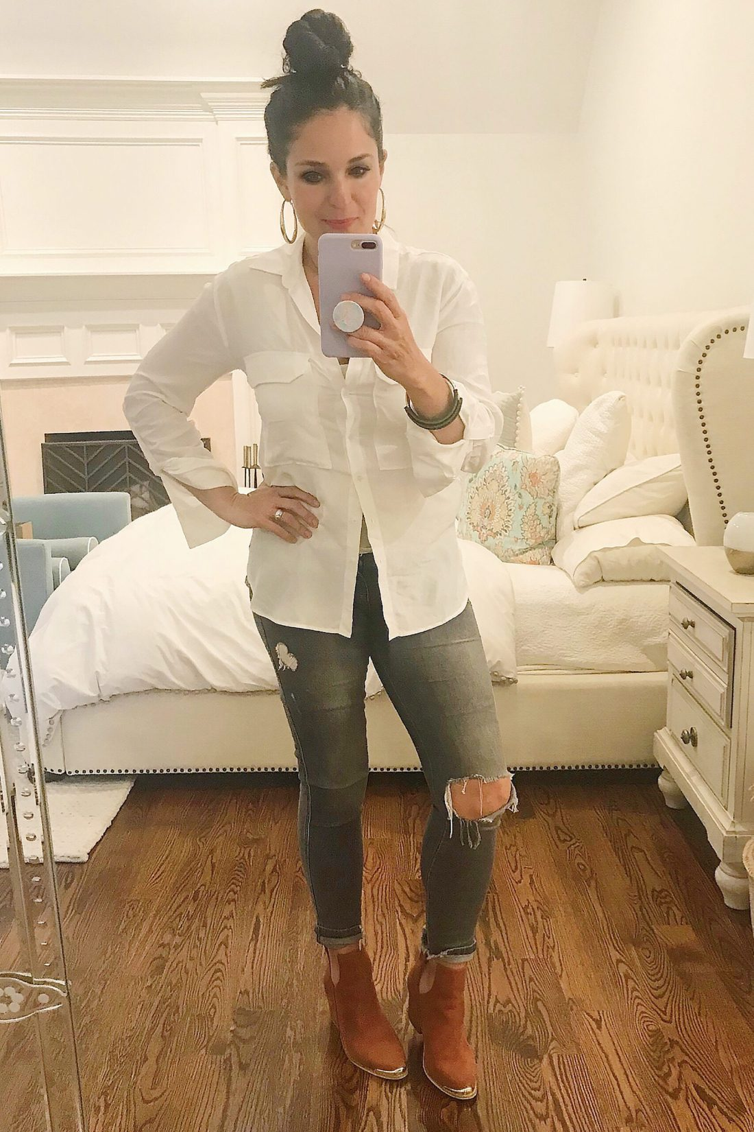 White button up shirt with vintage jeans and brown booties, which are discounted at Nordstrom Anniversary Sale picks || Top CT Lifestyle Blogger Darling Darleen