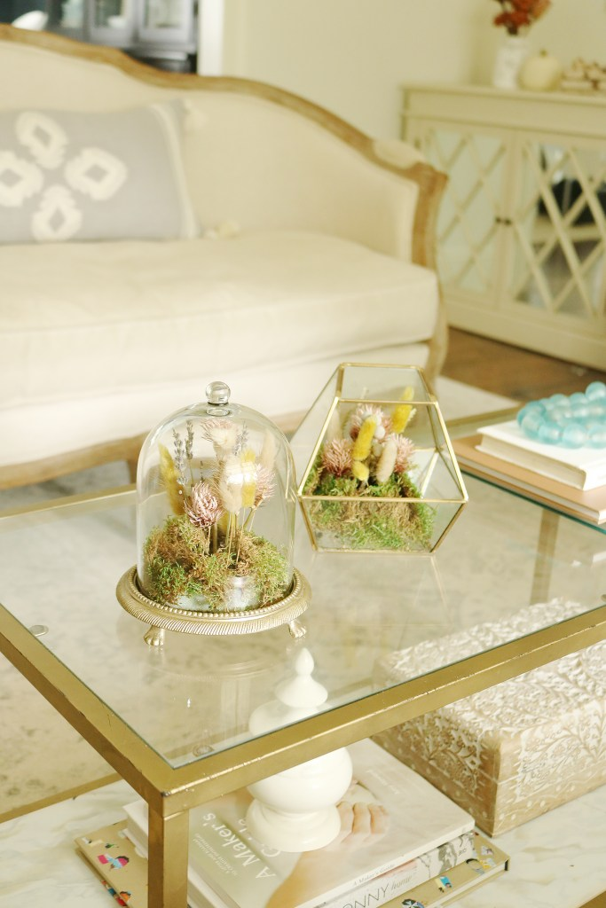 The perfect fall coffee table accent piece are these DIY dried floral Terrariums || Darling Darleen Top Lifestyle CT blogger #driedfloral