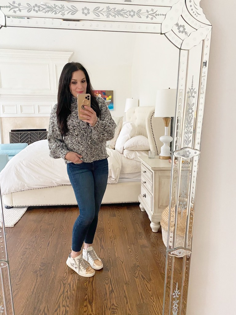 Snapits of my casual Friday jeans and sneakers winter edition, and sharing winter sales and how I am staying warm this winter.  || Darling Darleen Top CT Lifestyle Blogger