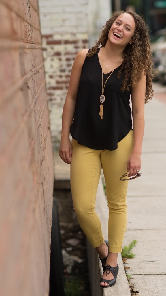 Gap Gold Pants, Nordstrom Black Hi-Lo Tank, Tassel Necklace