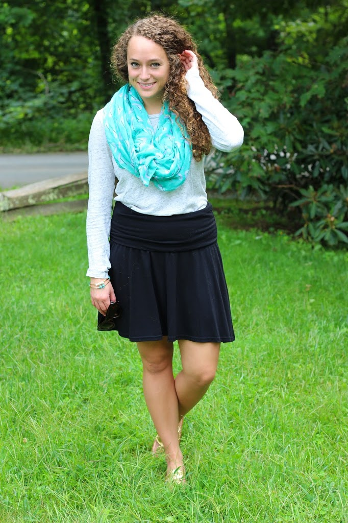 Teal Scarf, Old Navy Skirt