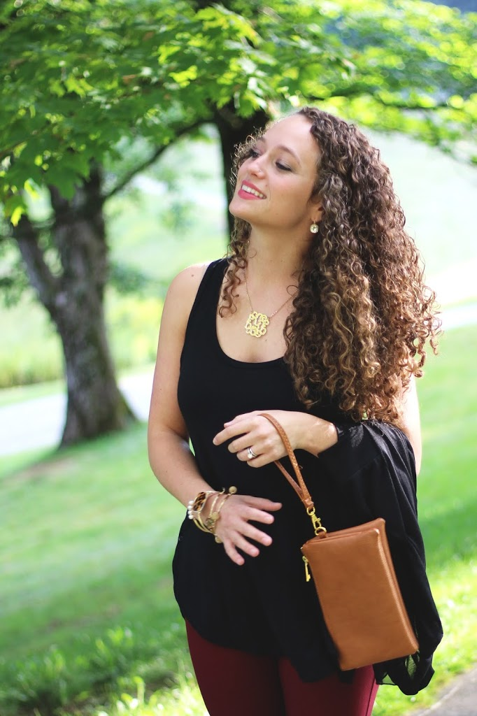 Black Tunic Tank Top, Burgundy Pants