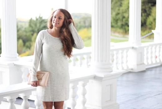 Heather Gray Sweater Dress, Blush Coach Wristlet, Pale Blue Flats