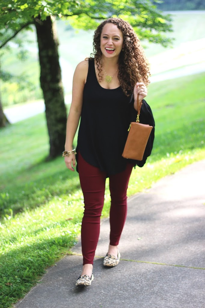 Burgundy Pants, Black Tank Top