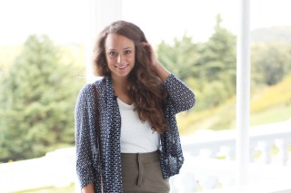 Khaki Skirt, White V Neck Shirt, Navy and White Cardigan,