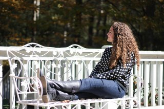 White Plum Polka Dot Sweater, White Button Up, Black Riding Boots