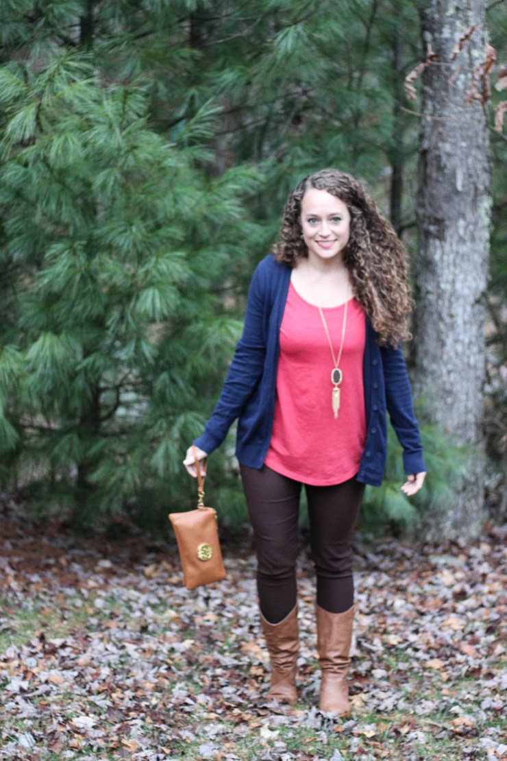 Brown Jeggings, Red Shirt, Navy Cardigan, Tan accessories