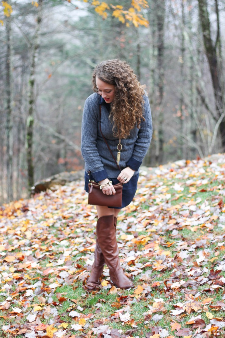 Gray Sweater, Navy Blue Shirtdress,and over the knee brown boots