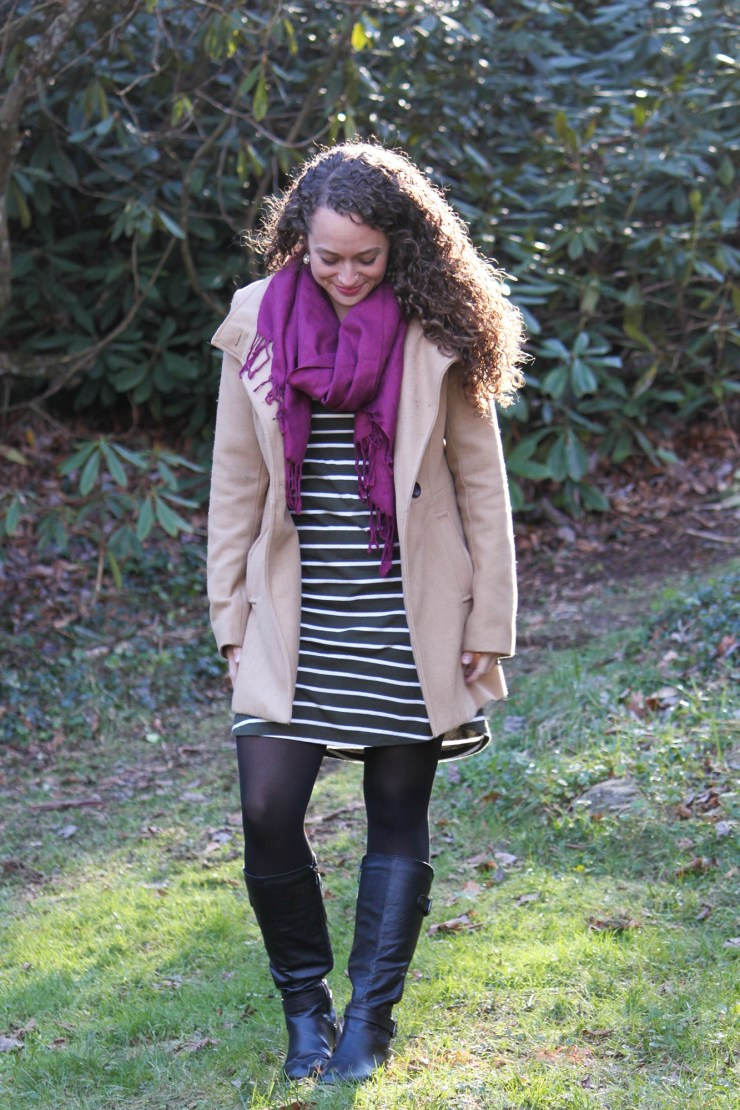 olive green striped dress with a fuchsia scarf and black tights