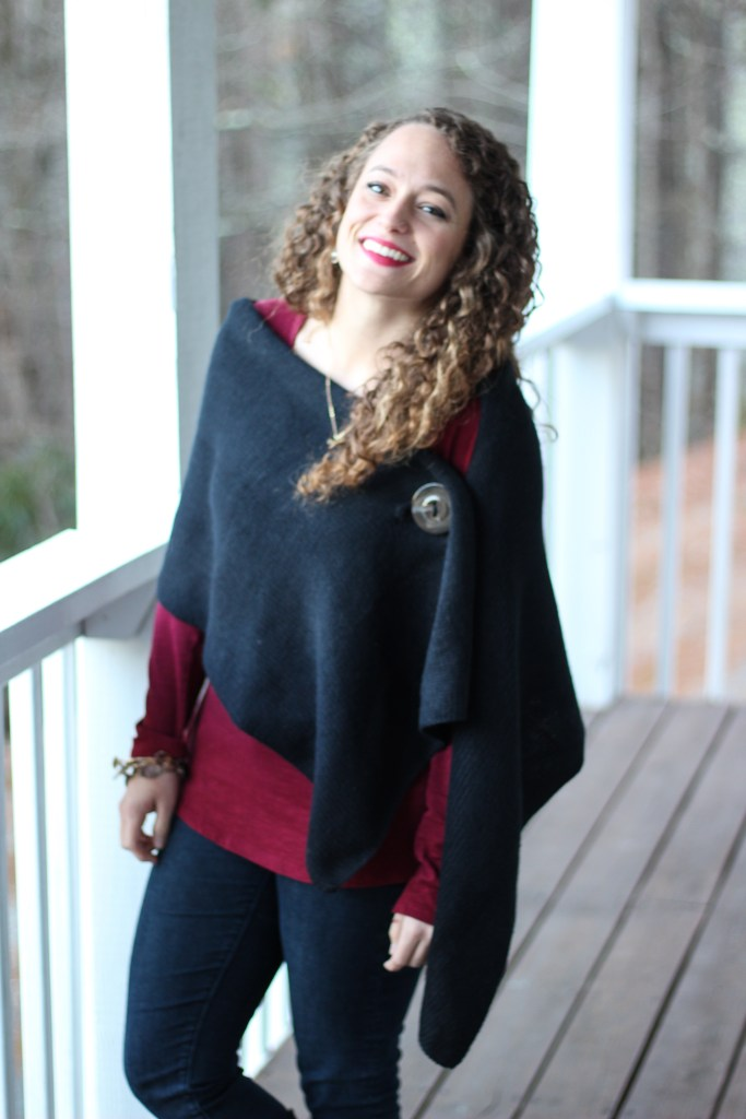 classy black shawl, burgundy shirt, and black boots